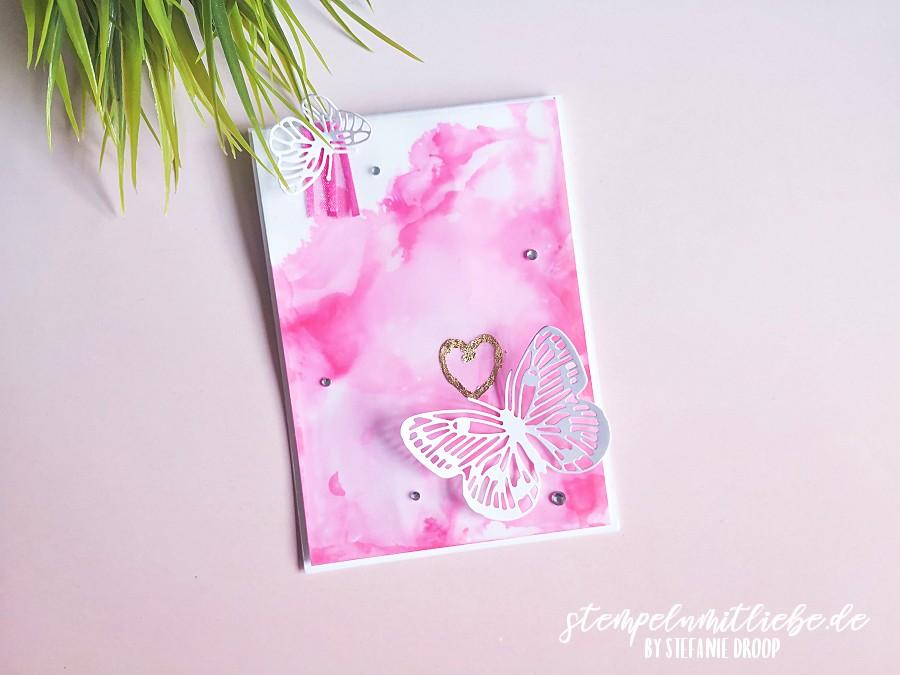 Bonbonrosa - Geburtstagskarte mit Fabelhafte Falter - Stempeln mit Liebe - Stampin' Up! - Stanzformen Fabelhafte Falter