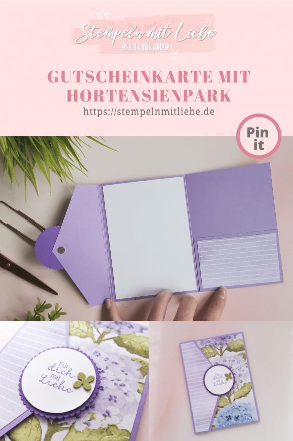 Gutscheinkarte mit Hortensienpark - Stempeln mit Liebe - Stampin' Up! - Stempelset Herrliche Hortensie
