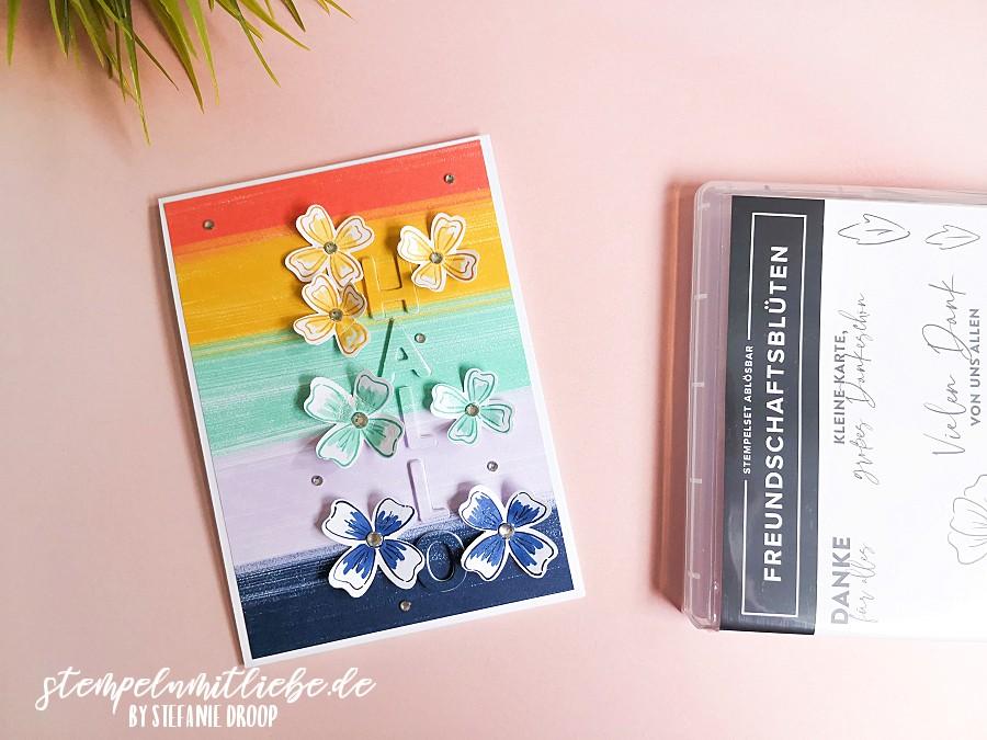 Video: Karte Hallo mit Freundschaftsblüten - Stempeln mit Liebe - Stampin' Up! - Stanzformen Buchstabenmix