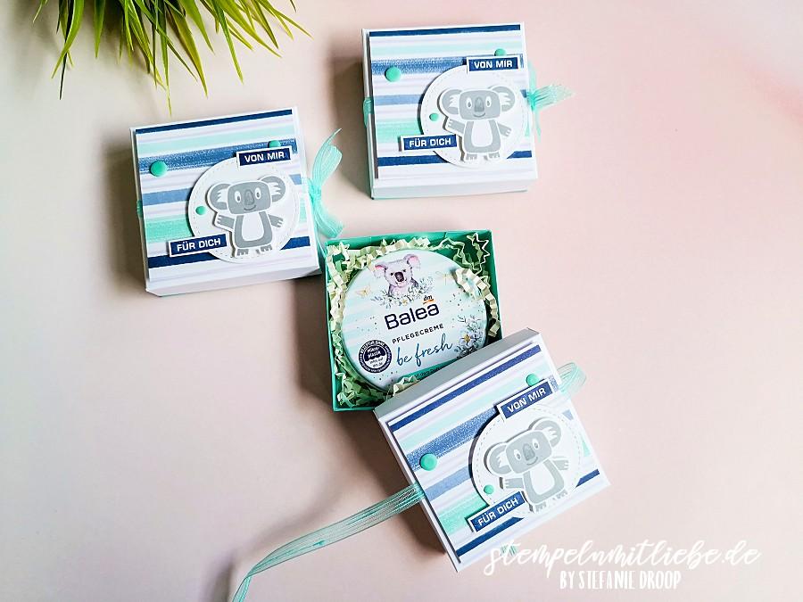 Verpackung für Pflegecreme mit Koala - Stampi' Up! - Stempeln mit Liebe - Designerpapier Jede Menge Muster - Stempelset Bonanza Buddies - Koala