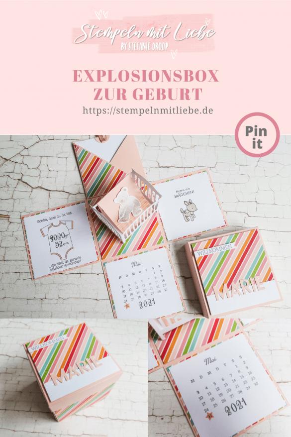 Explosionsbox zur Geburt in Blütenrosa - Babybox - Stempeln mit Liebe - Stampin' Up!