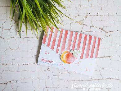 Klappkarte / Gutscheinkarte mit Süsse Pfirsiche