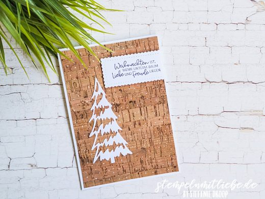 Weihnachtskarte mit Korkpapier