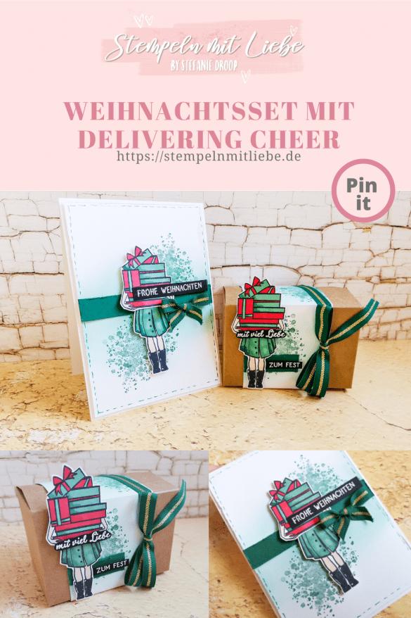 Weihnachtsset mit Delivering Cheer - Stampin' Up! - Stempeln mit Liebe - Tannengrün - Glutrot